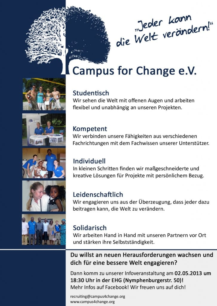 Recruiting Flyer Campus for Change.